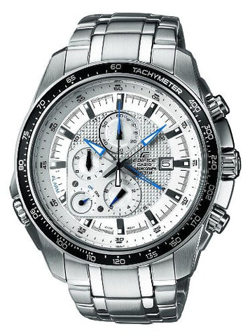 Casio Stainless Steel Edifice White Dial Alarm Chronograph Tachymeter