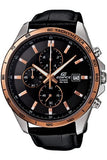 Casio Men's Edifice EFR512L-1AVDF Chronograph Retrograde Leather Quartz Watch with Black Dial LIMTED EDITION