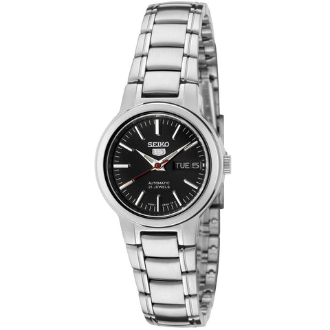 Seiko Women's SYME43 Seiko 5 Automatic Black Dial Stainless Steel Watch