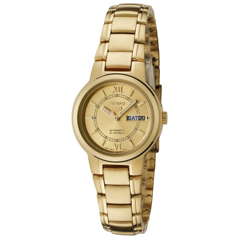 Seiko Women's SYME58 Seiko 5 Automatic Gold Dial Gold-Tone Stainless Steel Watch