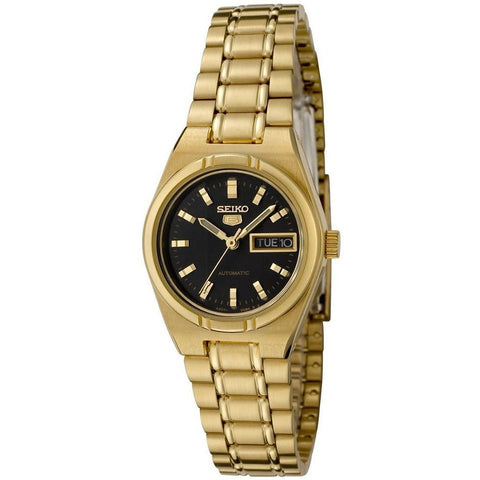 Seiko Women's 5 Automatic SYM602K Gold Stainless-Steel Automatic Watch with Black Dial