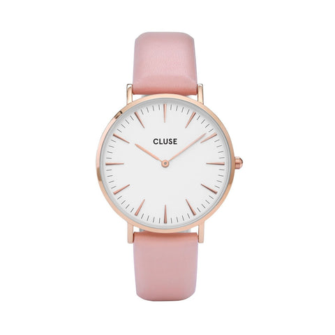 Cluse La Bohème Rose Gold White/Pink Womens Leather Watch CL18014