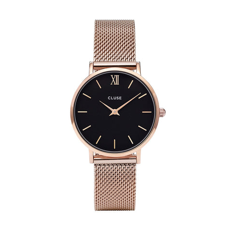 CLUSE Minuit Mesh Rose Gold/ Black Womens Watch CL30016