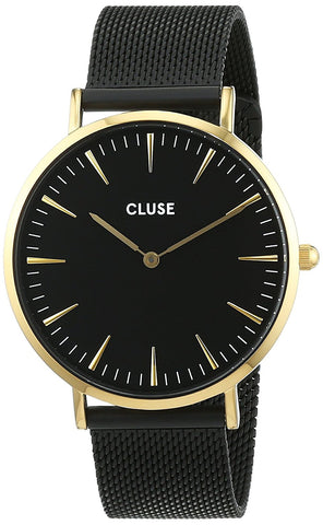 CLUSE La Boheme Mesh Gold Black/Black Womens Watch CL18117