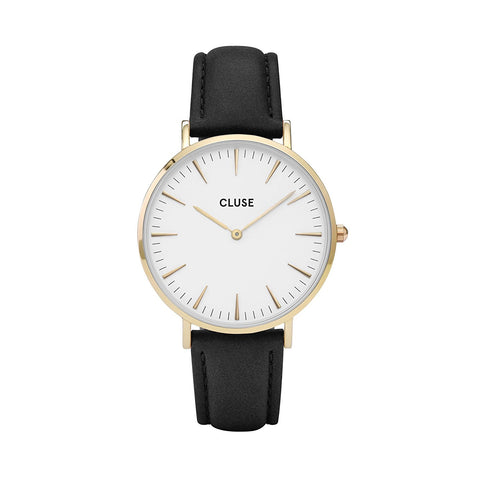 Cluse La Bohème Gold White/Black Womens Leather Watch CL18406