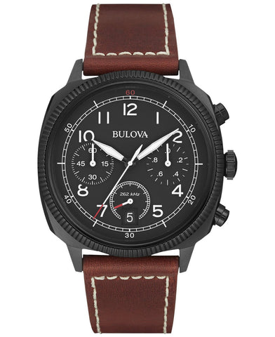 Bulova Men's 'Classic' Quartz Stainless Steel and Leather Automatic Watch, Color:Brown (Model: 98B245)