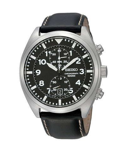 Seiko SNN231P2 Chronograph Men's Black Dial Black Leather Strap Quartz Watch