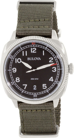 BULOVA MENS MILITARY UHF BLACK GREEN WATCH BL 96B229