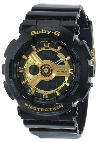 Casio Women's BA-110-1ACR Baby-G Goldtone Analog-Digital Display and Black Resin Strap Watch