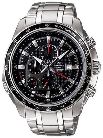 Casio Men's Stainless Steel Edifice Black Dial Alarm Chronograph Tachymeter