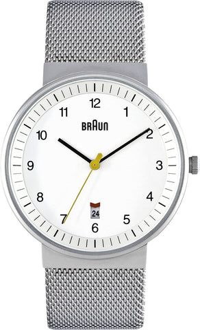 Braun Men's BN0032WHSLMHG Classic Mesh Analog Display Japanese Quartz Silver Watch