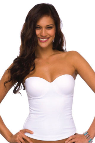Second Skin Long-line Bustier in White - Sense Lingerie