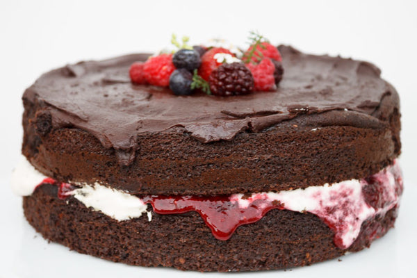 Double layer berry chocolate cake