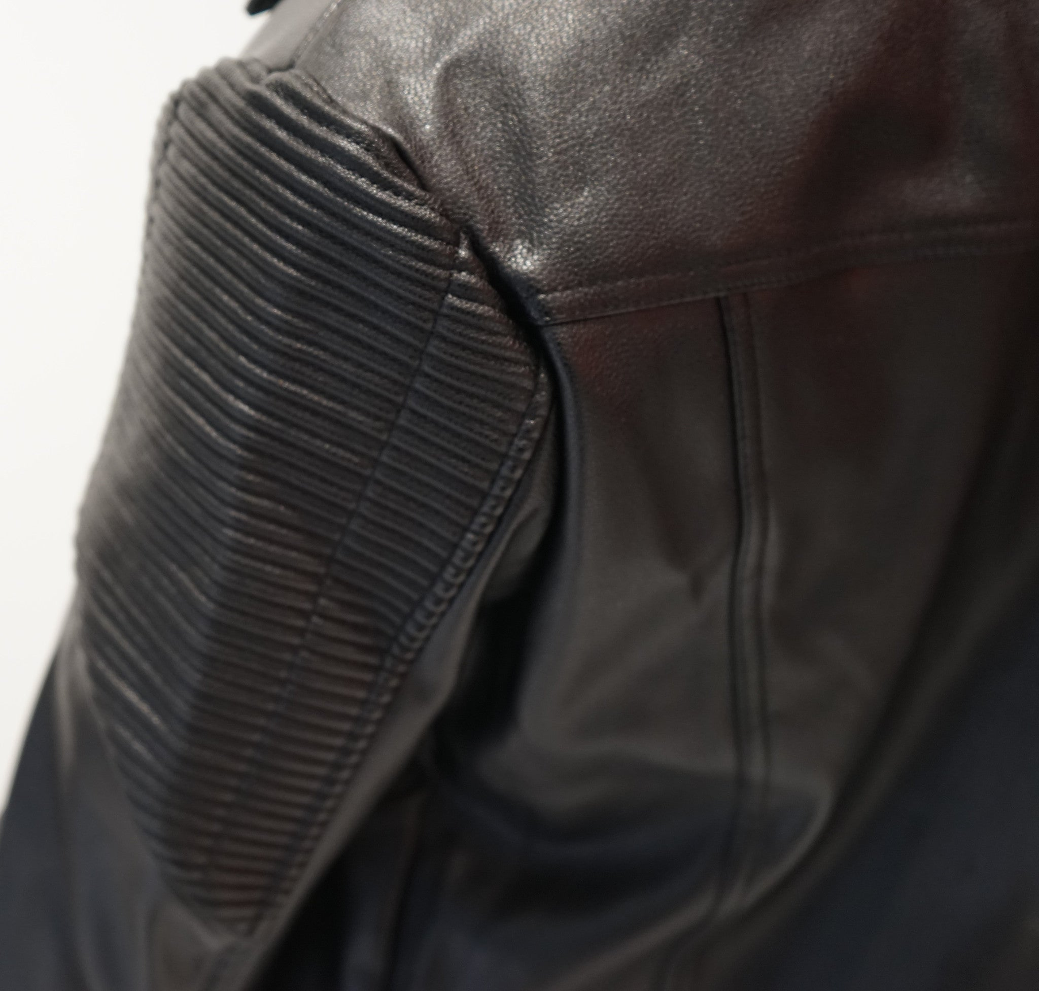 Ribbed Black Leather Biker Jacket - Nokwal