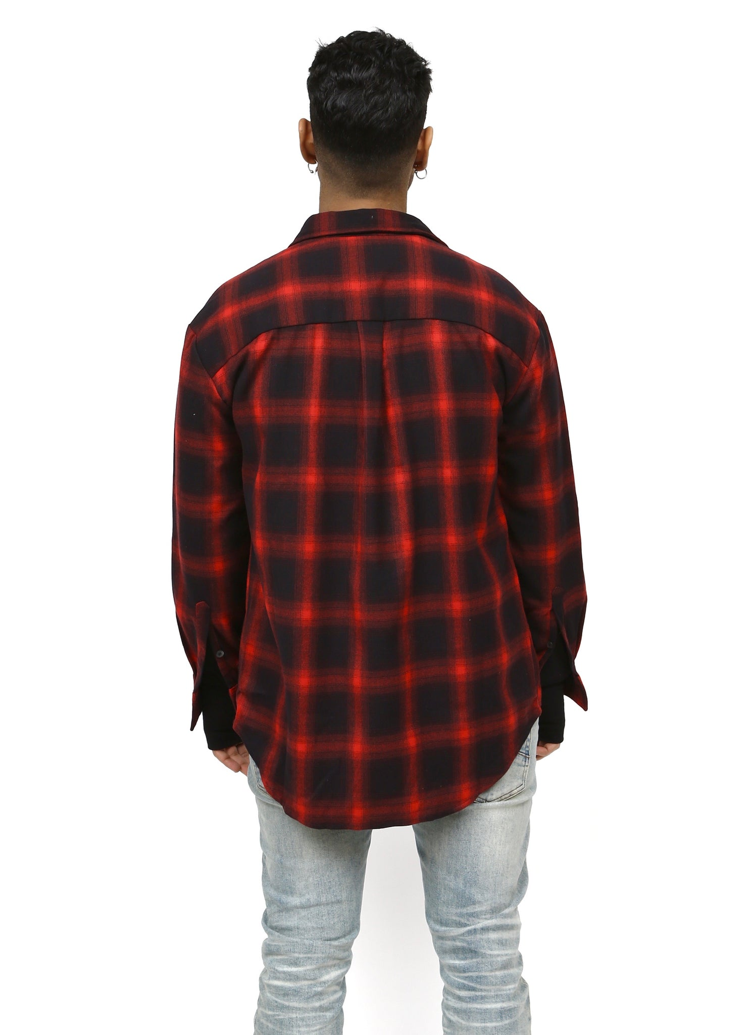 Red/Black Check Plaid Button Up Shirt