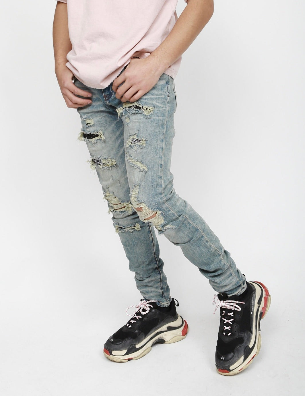 Nokwal Light Blue Destructed Diamond Skinny Denim