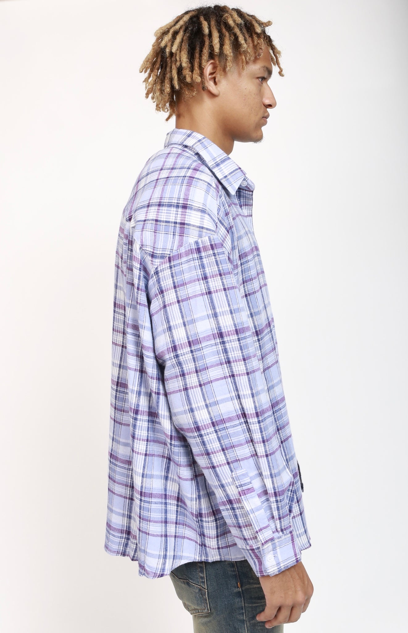 Oversize Plaid Shirt - Light Purple