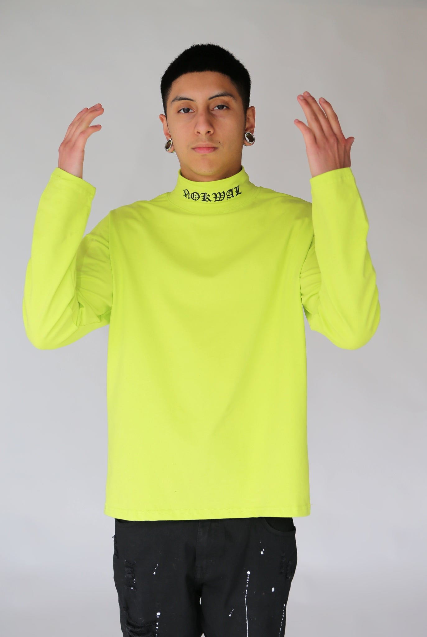 Long Sleeve Embroidered Neck Turtle Neck - Lime Green - Nokwal