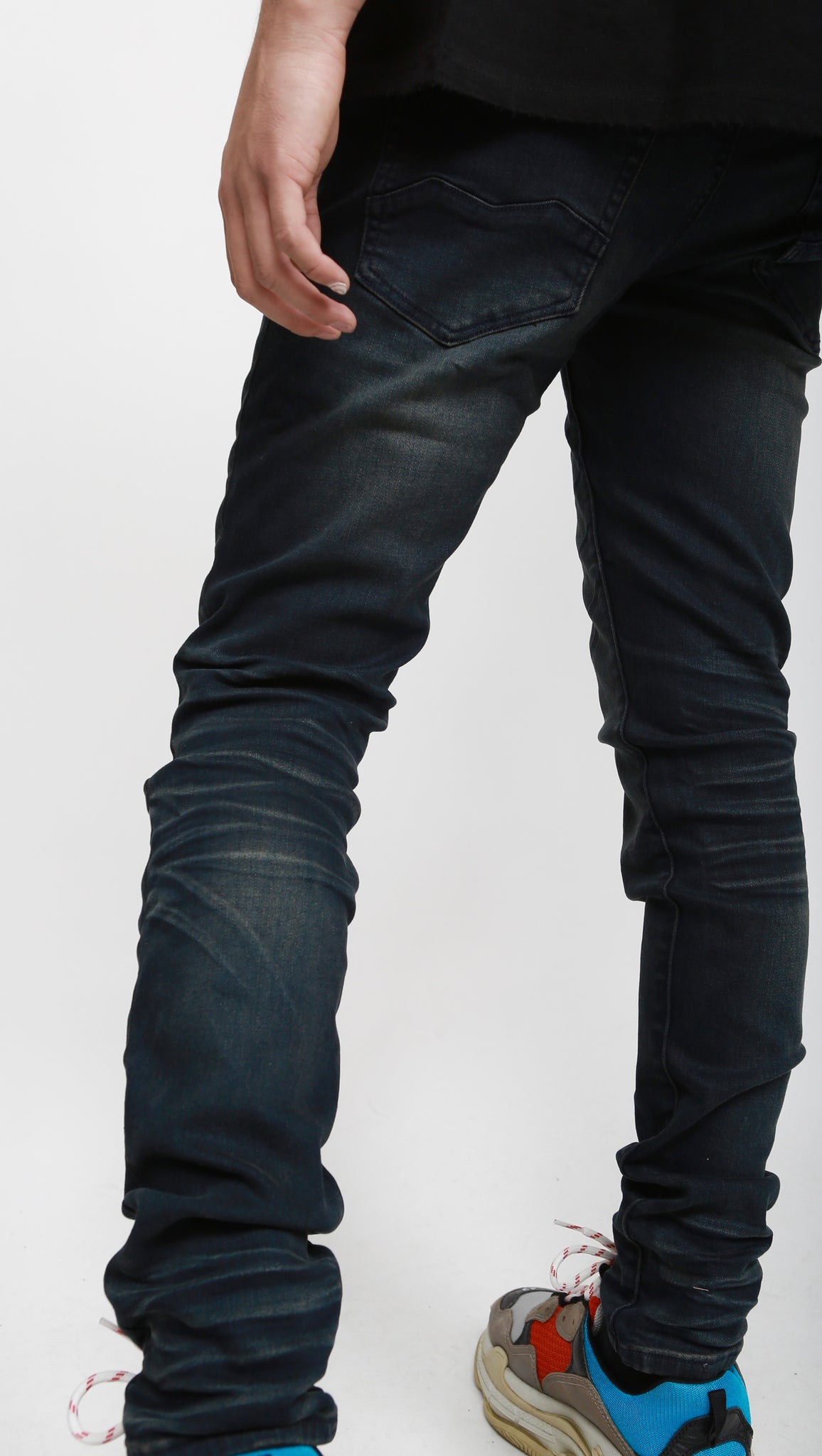 Nokwal Dark Blue Faded Skinny Denim