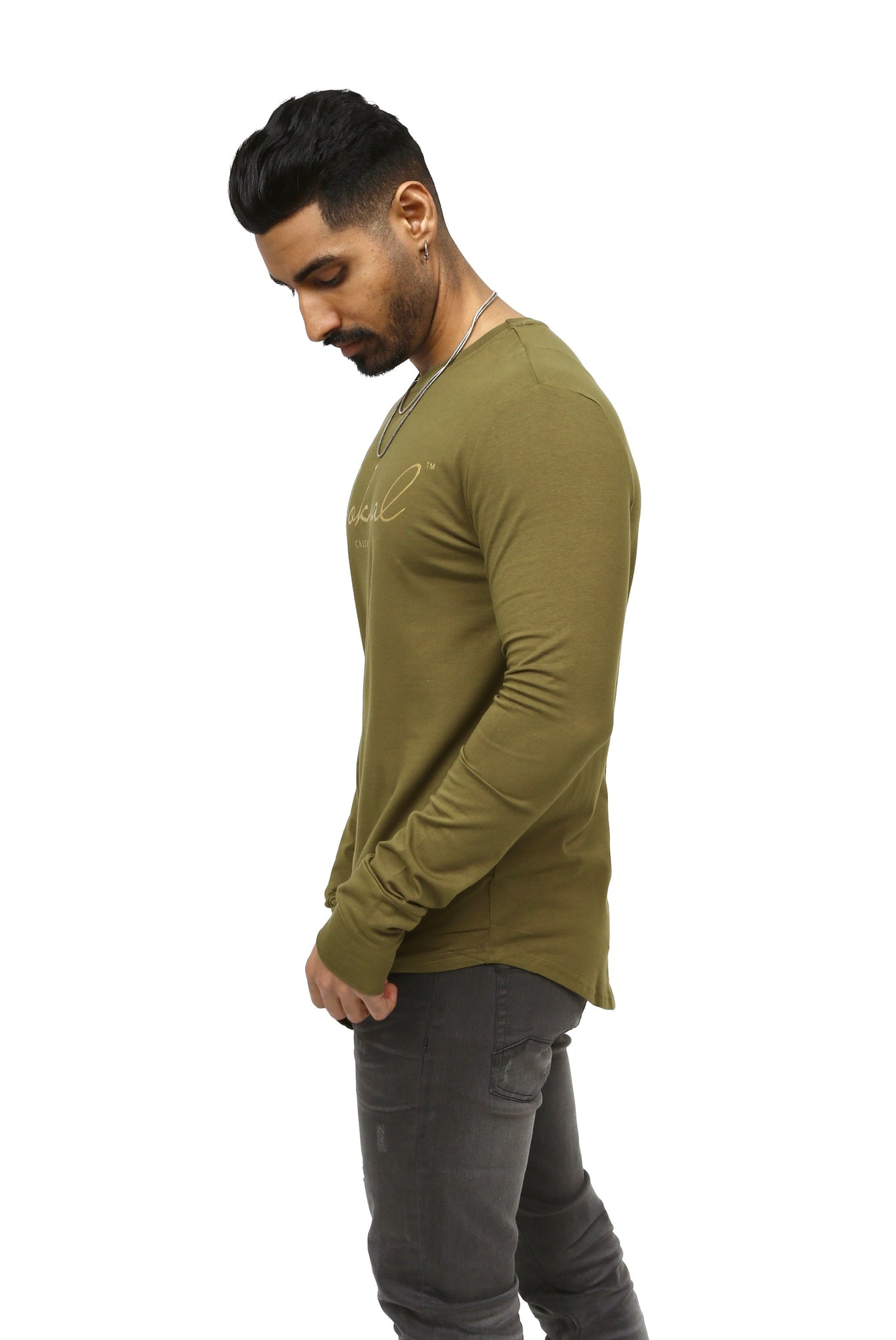 Olive Signature Long Sleeve T Shirt W/ Gold NOKWAL SIGNATURE