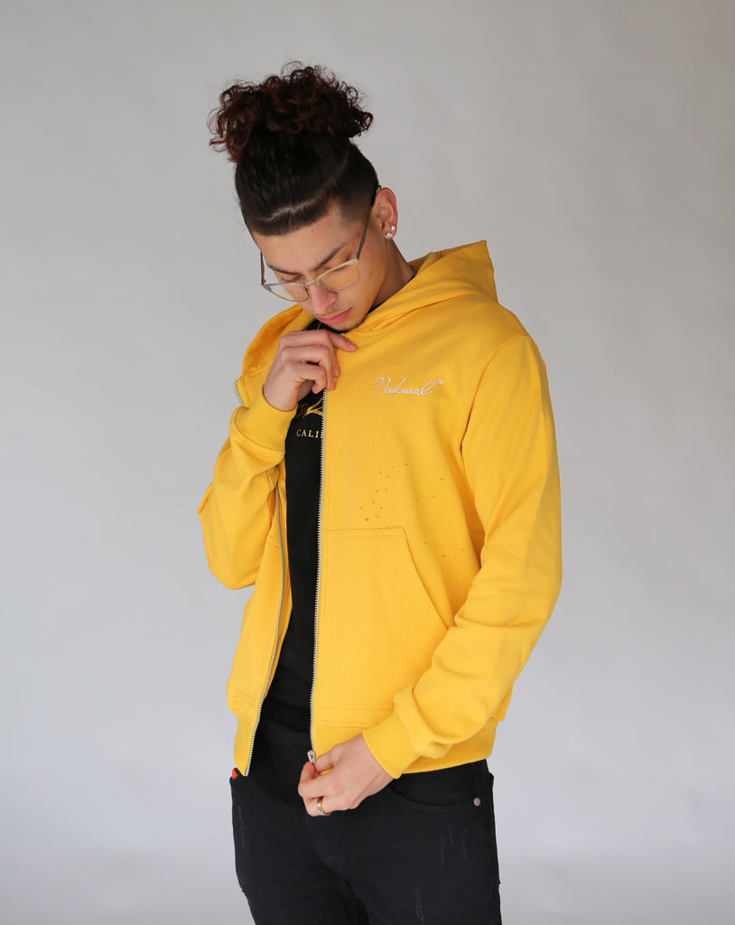 Distressed Zip Hoodie in Yellow - Nokwal
