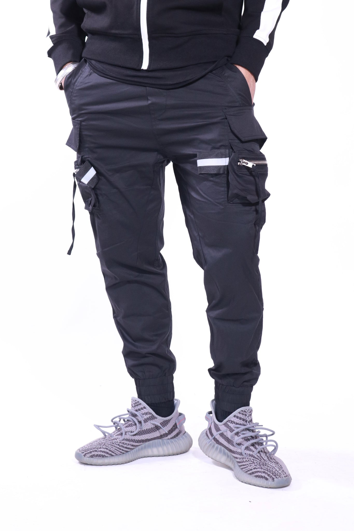 Black Sporty Cargo Track Pants - Nokwal