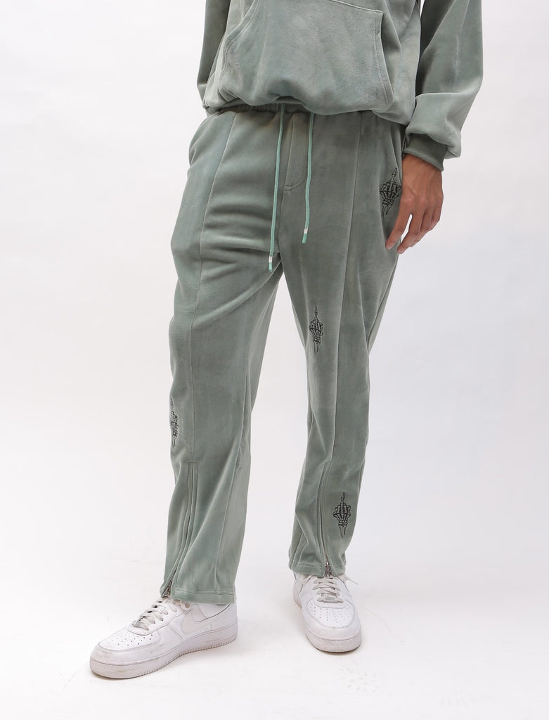 """Middle Finger"" Embroidered Velvet Sweatpants - Sage Color"