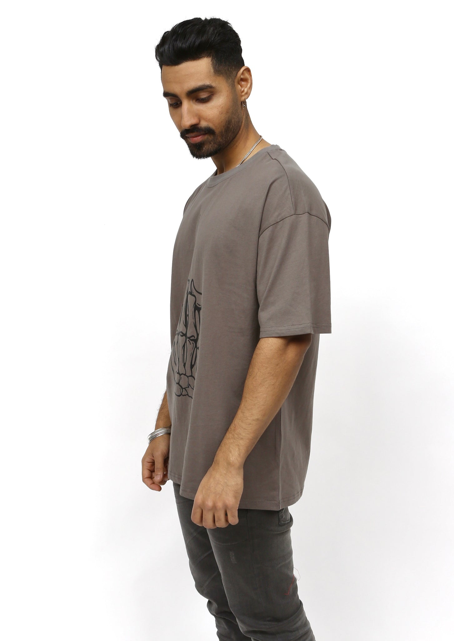 Grey Oversized Middle Finger T-Shirt