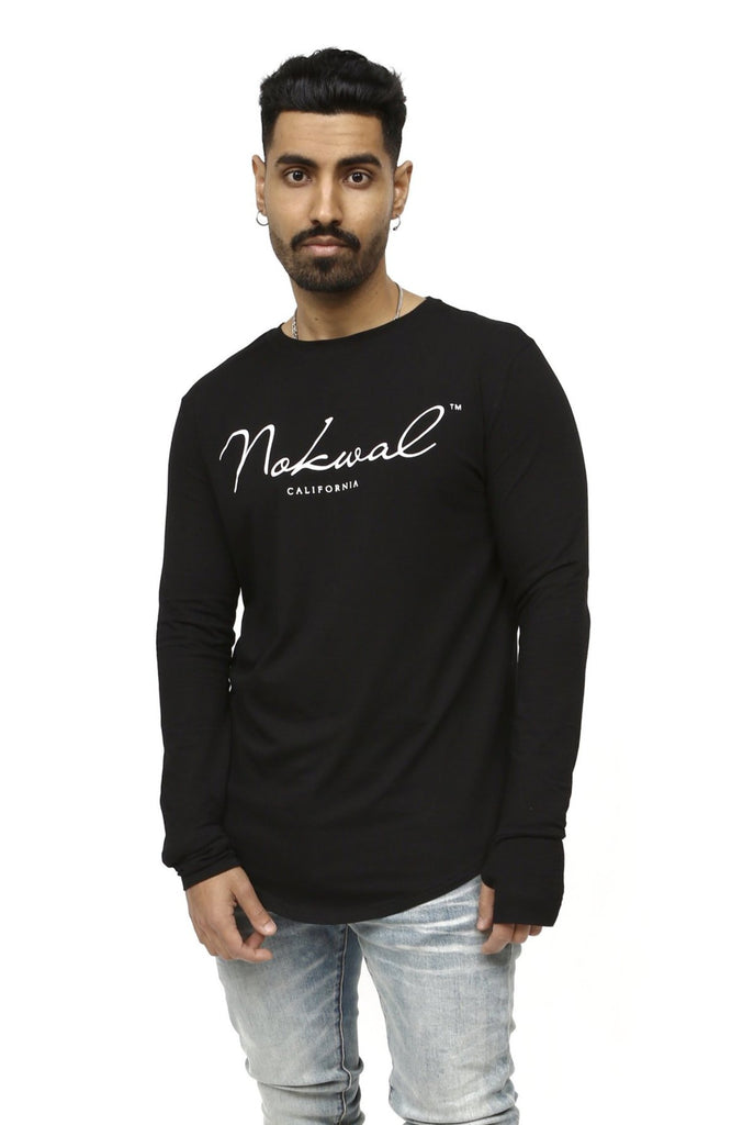 Black Signature Long Sleeve T Shirt W/ White NOKWAL SIGNATURE