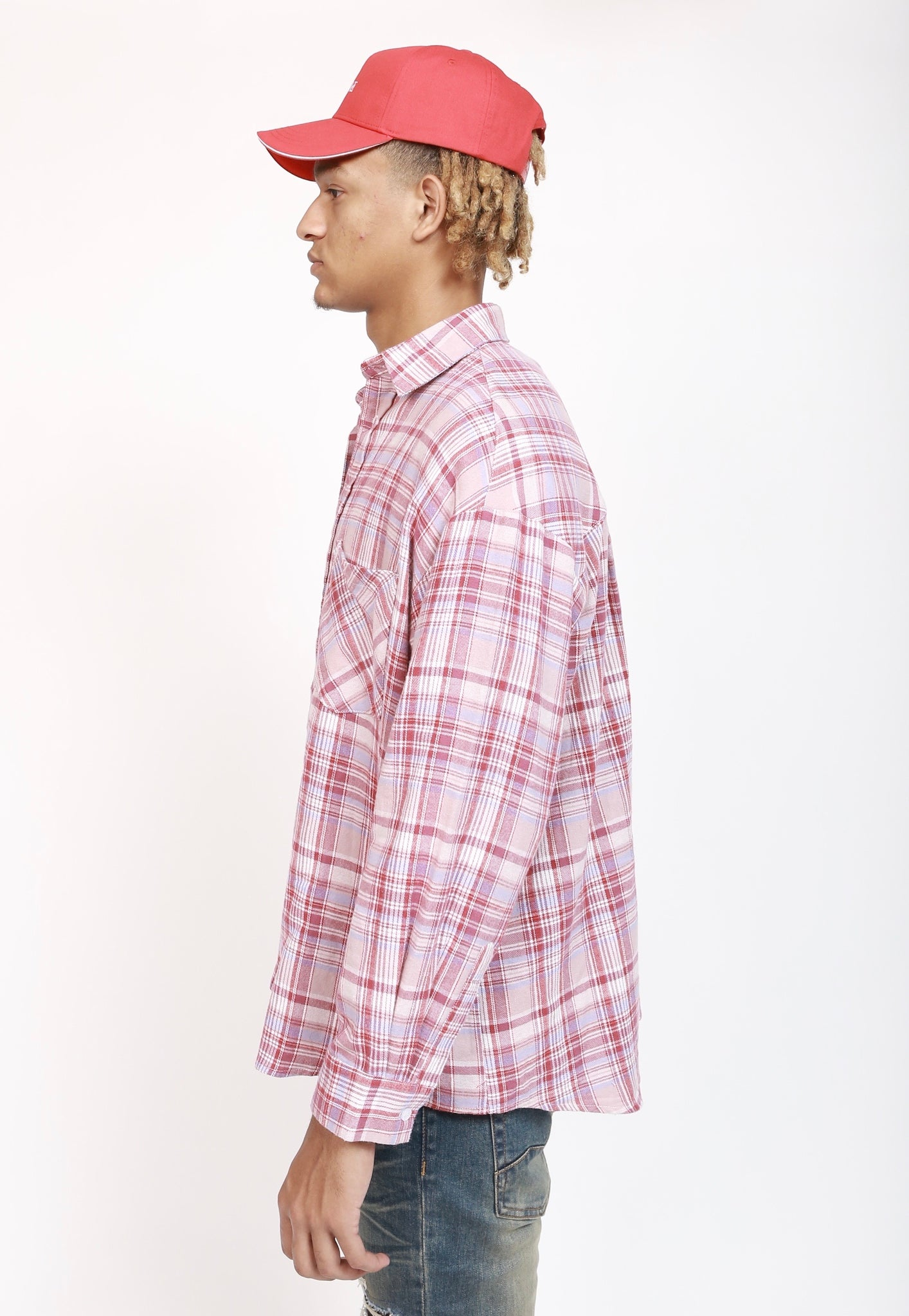 Oversize Plaid Shirt - Red/Blue