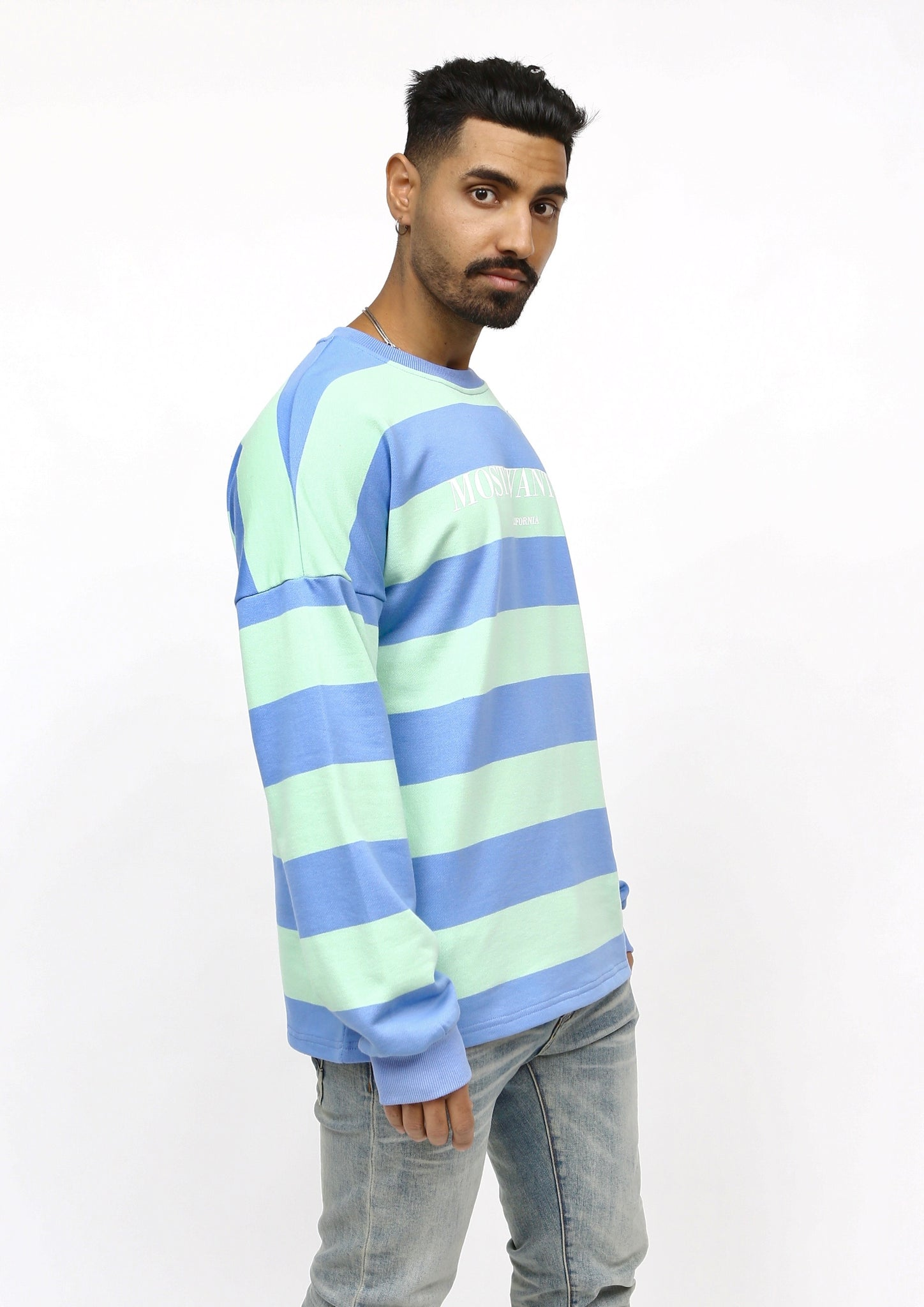 MOST WANTED Light Blue/Green Stripe Long Sleeve Crewneck T