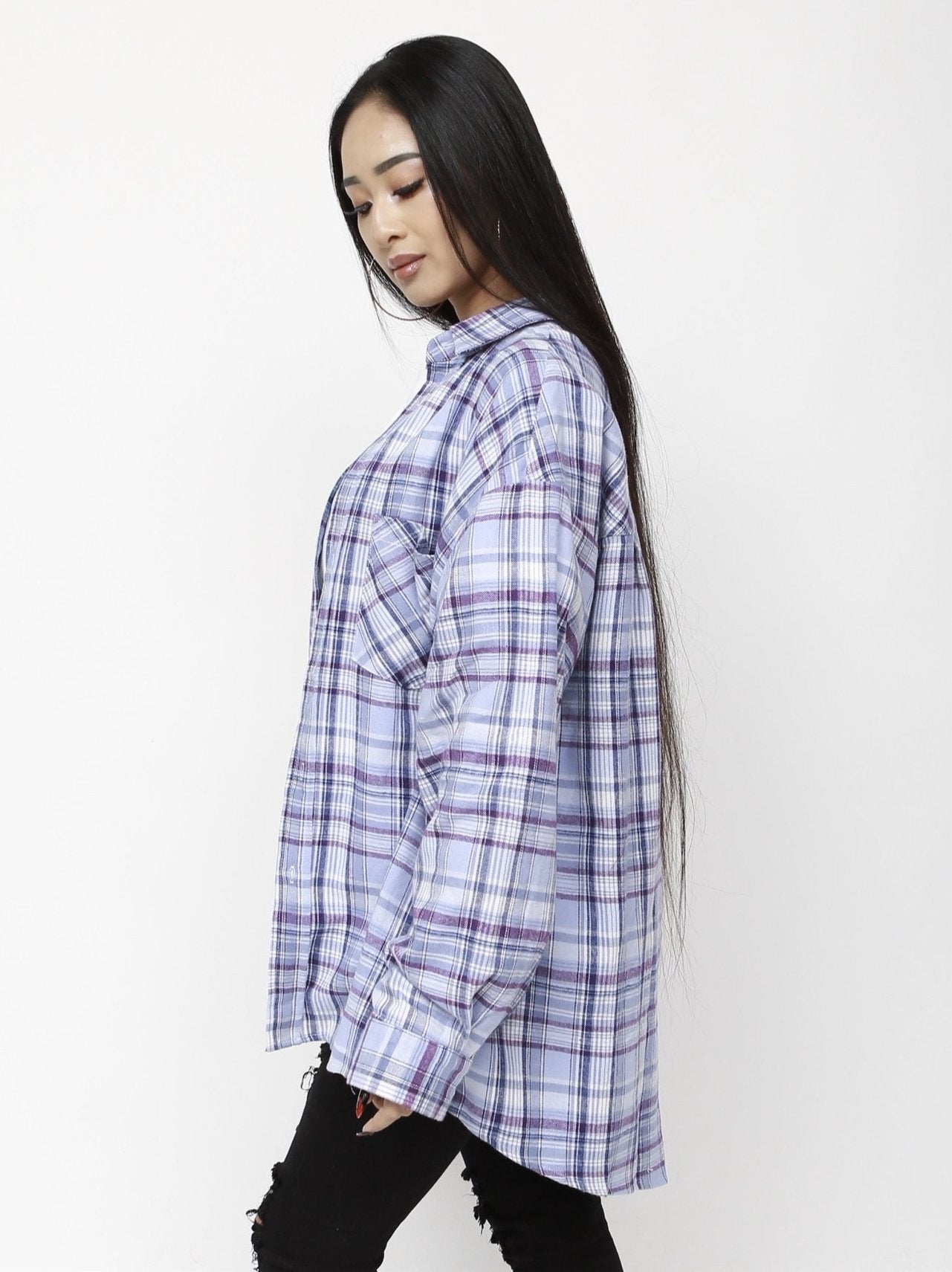 Unisex Oversize Plaid Shirt - Light Purple