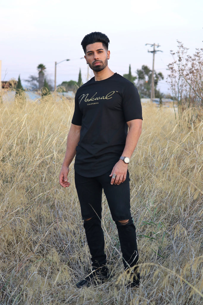 Black T-Shirt w/ Gold Nokwal Signature