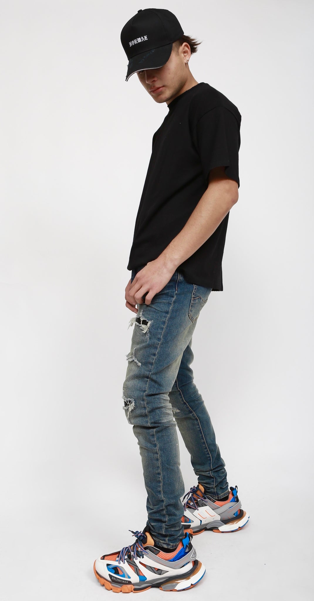 Nokwal Whiskey Faded Wash Distressed Leather Skinny Blue Denim