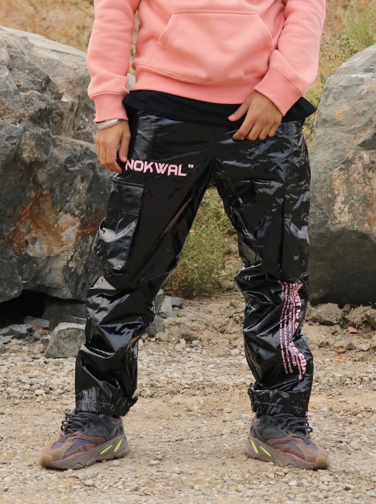 Nokwal Future Poly Cargo Trackpants - Black/Pink