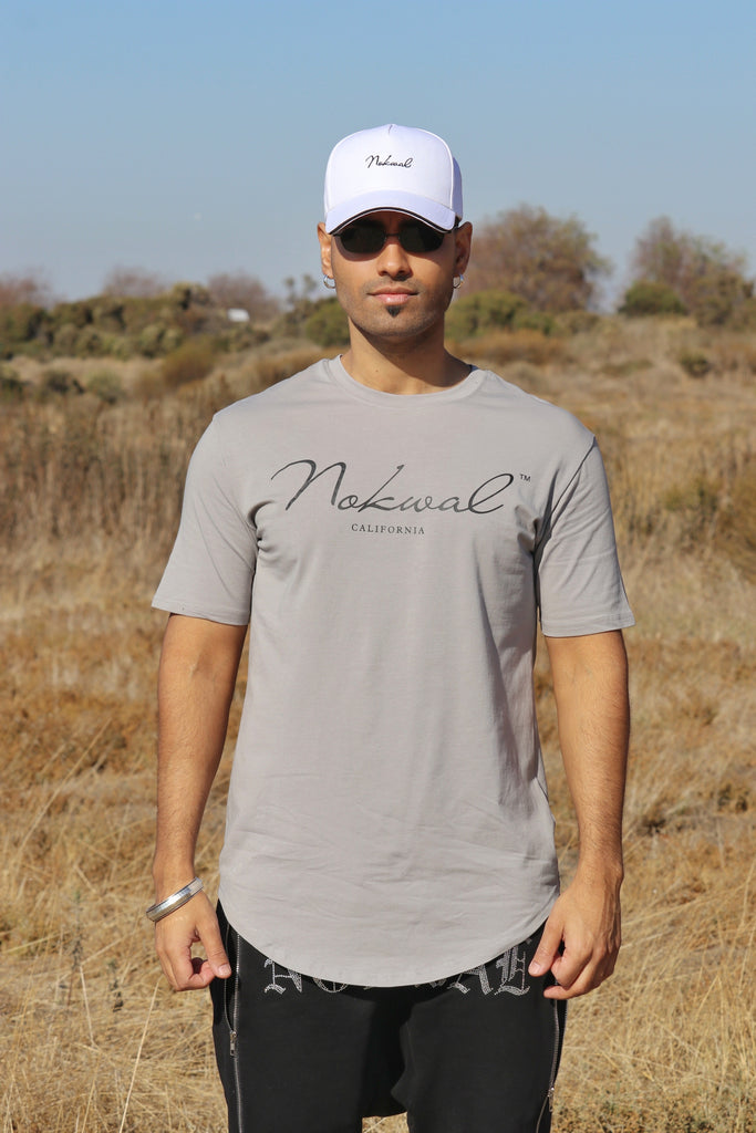 Gray T-SHIRT W/ Black NOKWAL SIGNATURE - Nokwal