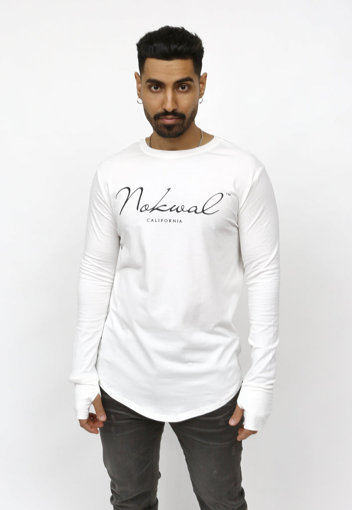White Signature Long Sleeve T Shirt W/ White NOKWAL SIGNATURE