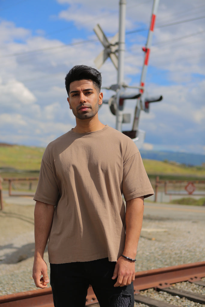 Classic Drop Shoulder Tee - Brown - Nokwal