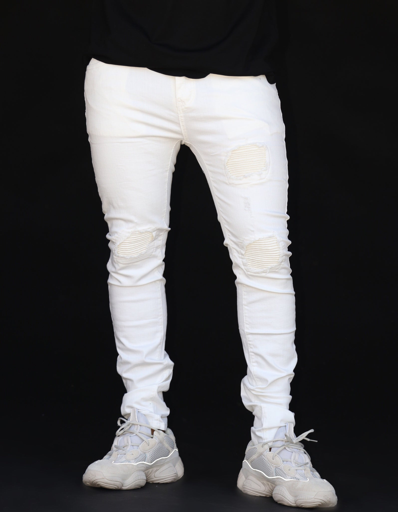 Skinny - Off White Biker w/ Pleated Leather Panel Insets - Nokwal