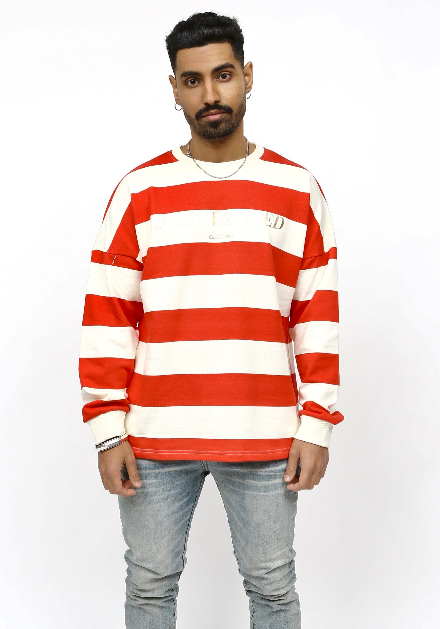 MOST WANTED Red Stripe Long Sleeve Crewneck T