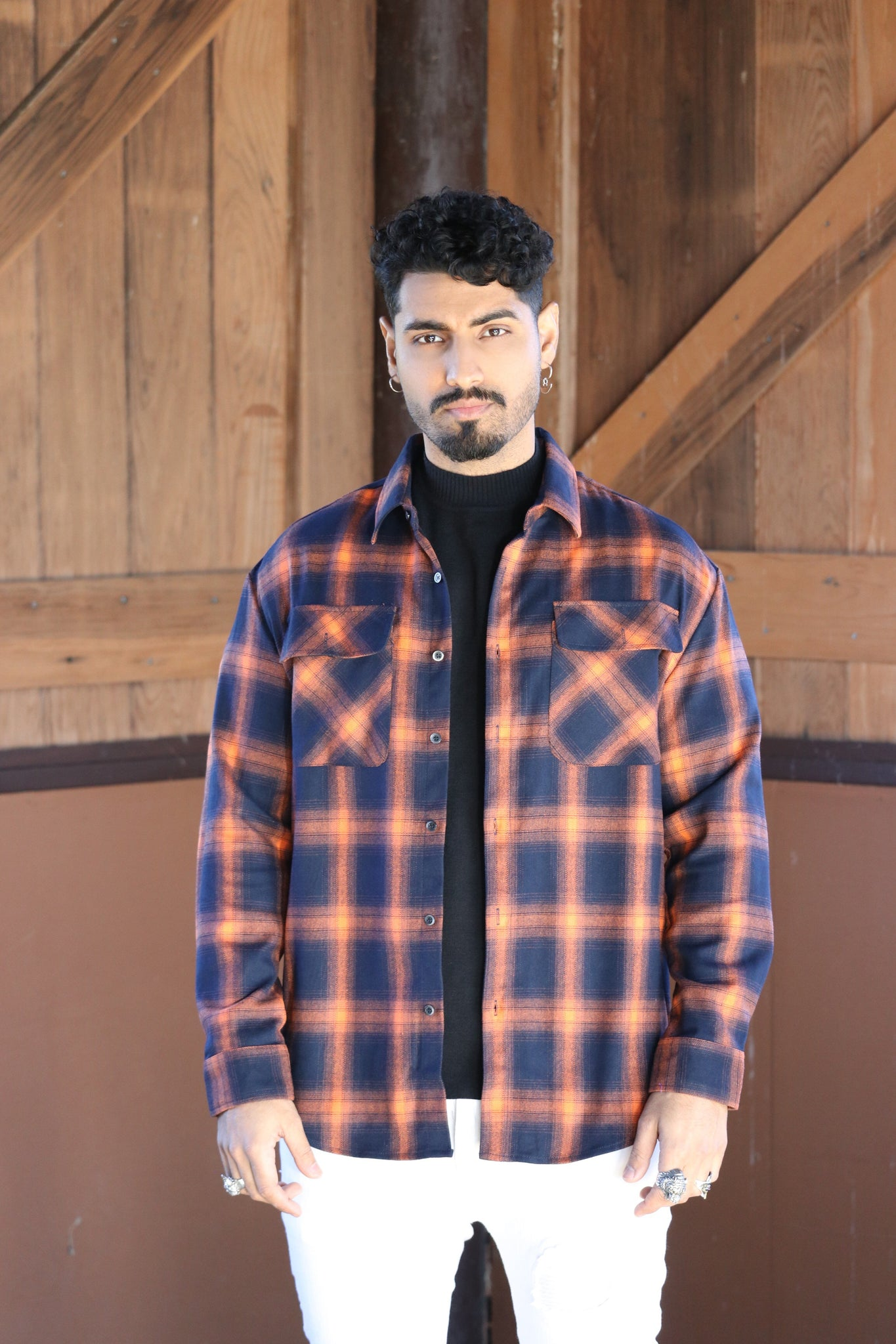 Orange Check Button Up Shirt - Nokwal