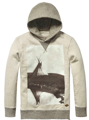 Scotch and Soda Hooded Sweater cream/grey