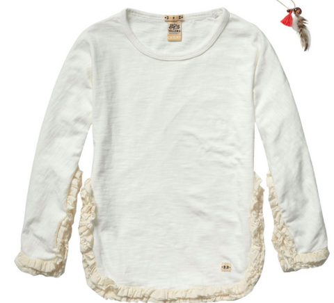 Scotch and Soda Story Teller Sweat With Ruffle (Off White)
