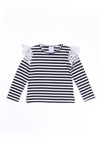 Alex & Ant - Lace Frill Tee - Navy/White Stripe