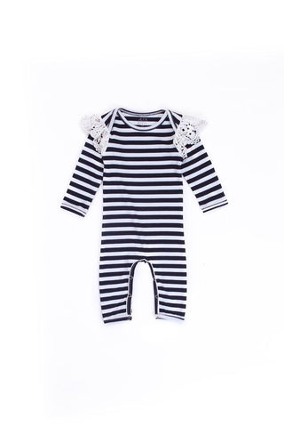Alex & Ant - French Lace Onesie - Navy and White Stripe