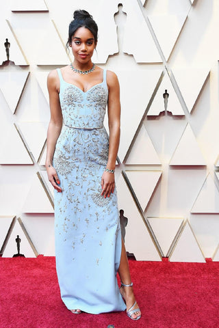 Laura Harrier in Sustainable Louis Vuitton dress oscars red carpet 2019