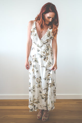 Roxsta wrap around floral maxi dress