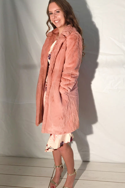 Winter in St.Moritz Luxe Faux Fur Jacket in Blush