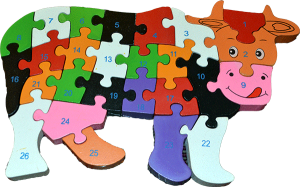 Wooden Blocks Cow Puzzle