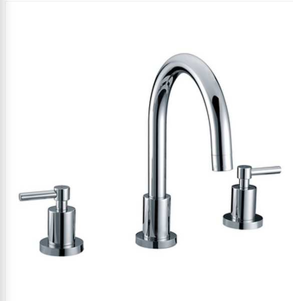 Buy Widespread Deck Mounted Bathroom Faucet w/ 2 Lever Handle - Zen Tap Sinks
